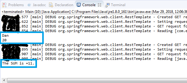 Spring Boot REST web service client example : execution log