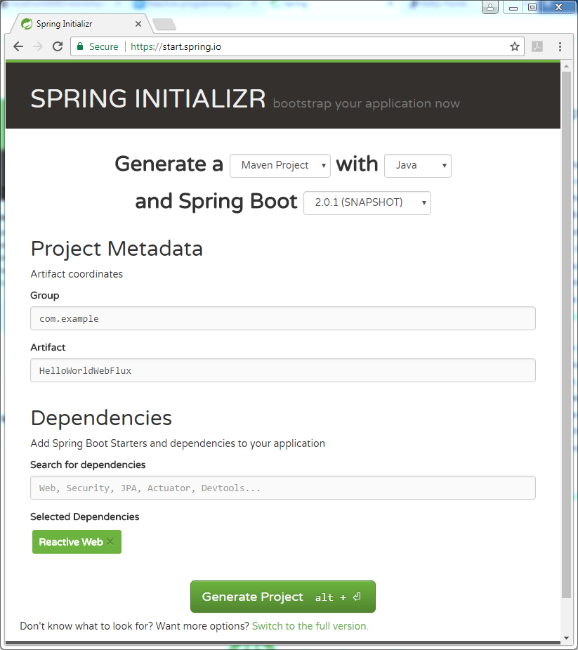 Spring Boot WebFlux Hello World example : Initializr