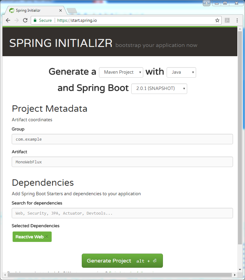 Spring Boot WebFlux Mono stream type example : pom.xml file