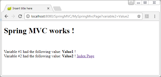 Spring MVC example : second page