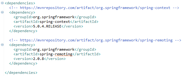 Spring Remote Method Invocation (RMI) example : pom.xml file