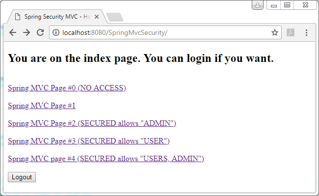 Spring 5 Security - mvc (web) security enforcement: home page