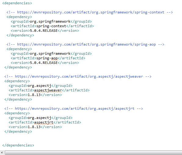 Spring AOP Pointcut with example : pom.xml file