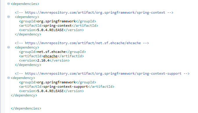 EhCache with Spring (example) : pom.xml file
