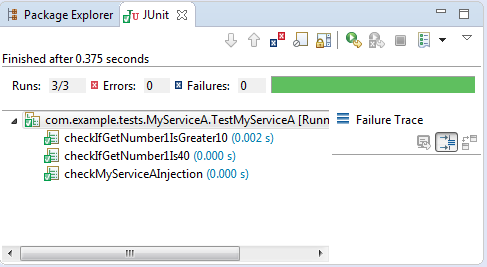 Testing your code using JUnit with Spring (example) : the result with JUnit.