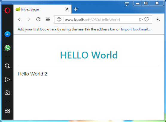 Thymeleaf Hello World Application with Spring: the execution in browser