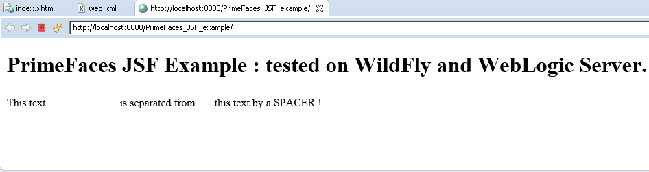Primefaces (JSF) example and short presentation of JSF: the project execution