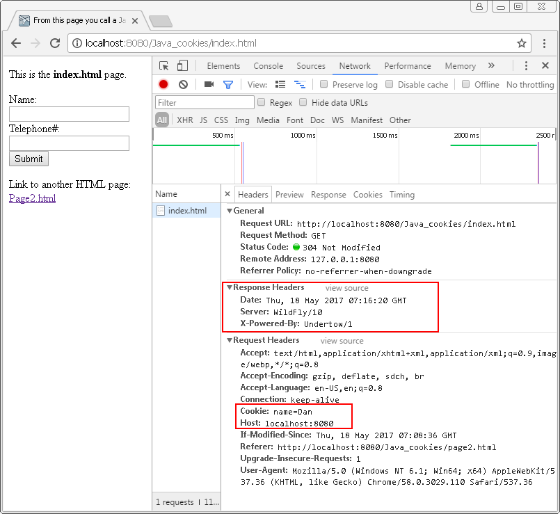 Cookies in Java : developer tools in chrome