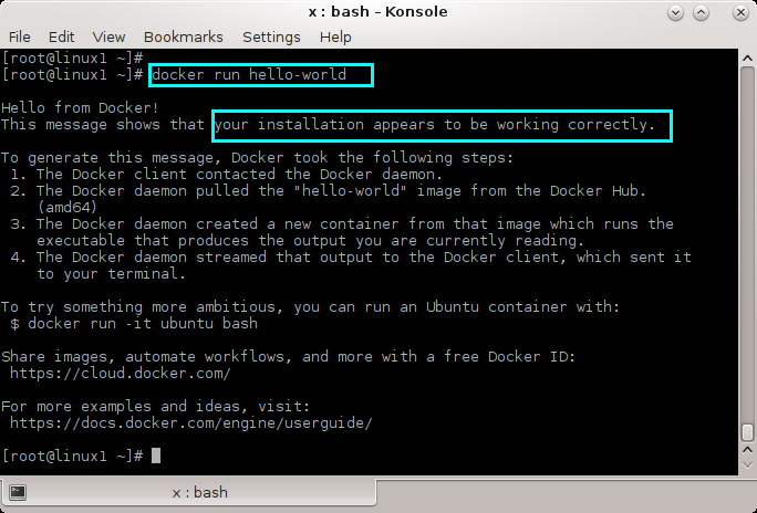 Uninstall Docker from Linux (CentOS 7, RedHat 7): test the installation