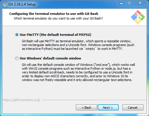 Install Git on Windows: terminal emulator to use with Git bash