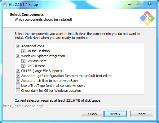 Install Git on Windows: components