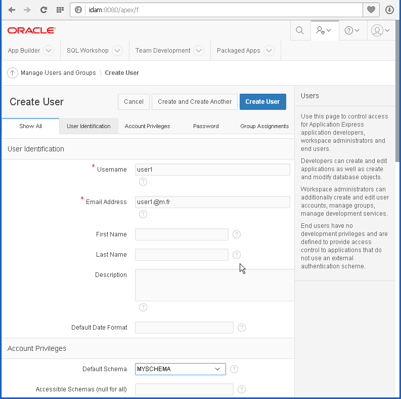 create Oracle APEX user: information 1