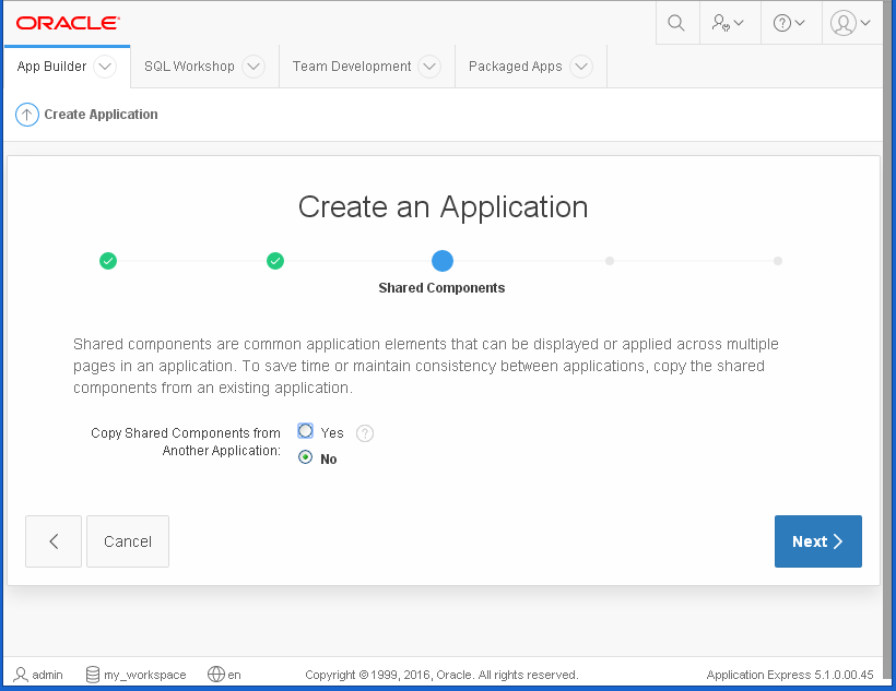 create Oracle APEX Application - hello word: shared components