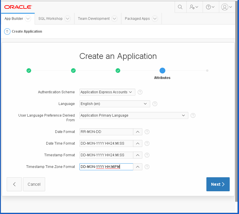 create Oracle APEX Application - hello word: attributes
