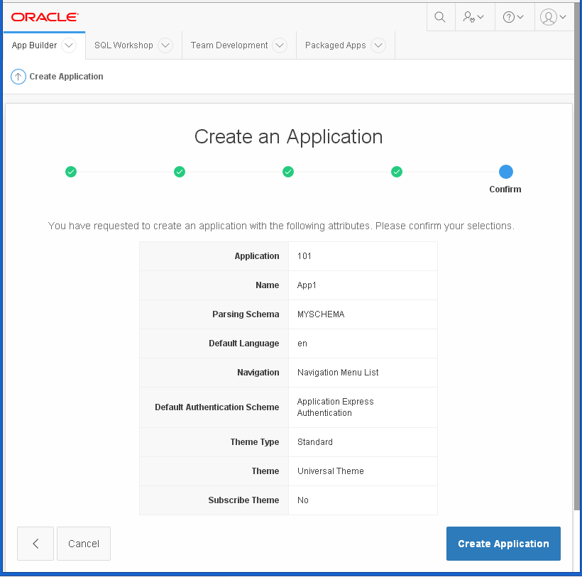 create Oracle APEX Application - hello word: confirmation