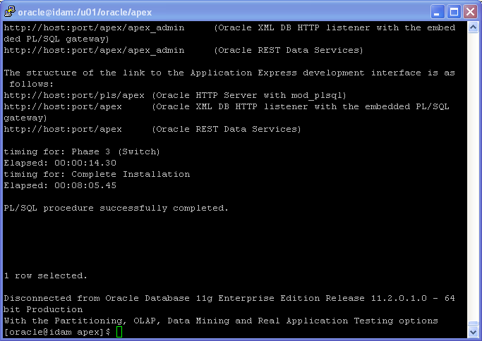 Oracle APEX 5.1 Installation on Linux - using Oracle Embeded PL/SQL Gateway: install