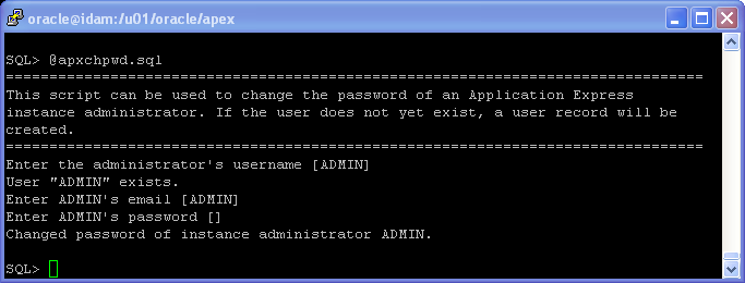 Oracle APEX 5.1 Installation on Linux - using Oracle Embeded PL/SQL Gateway: password