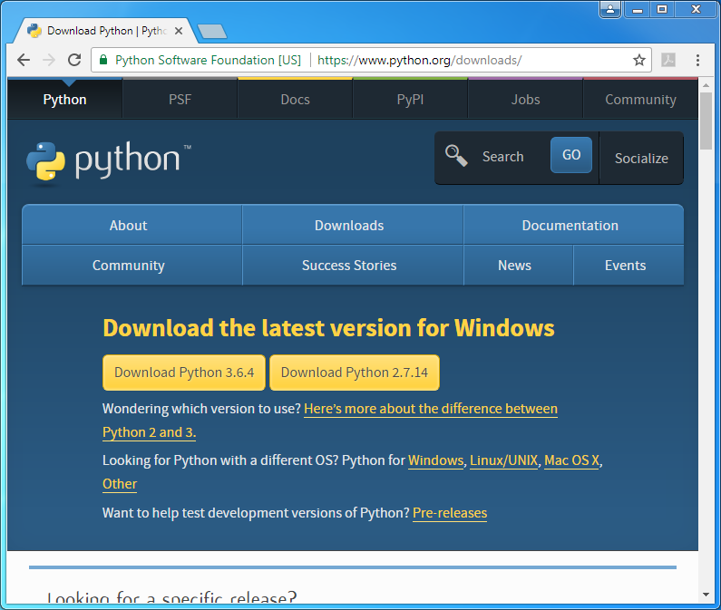 Python installation on Windows (v. 3.4.3): download