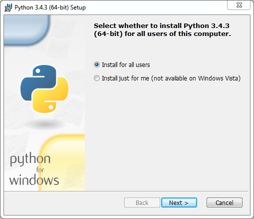 Python installation on Windows (v. 3.4.3): setup