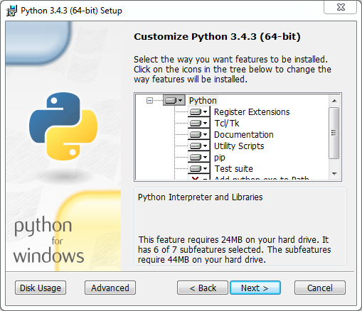 Python installation on Windows (v. 3.4.3): customization