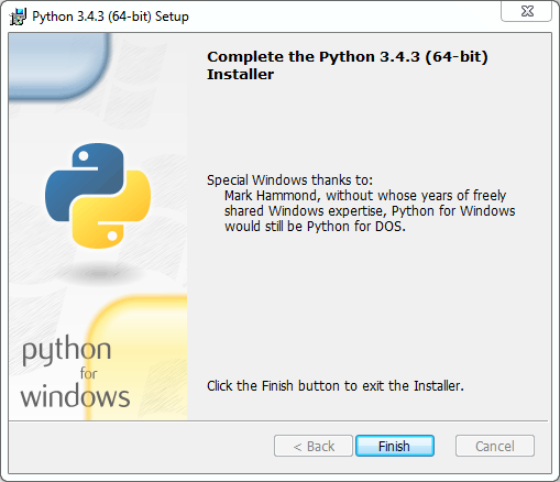Python installation on Windows (v. 3.4.3): completed