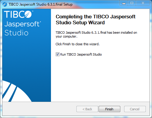 Jaspersoft Studio installation on Windows: completed