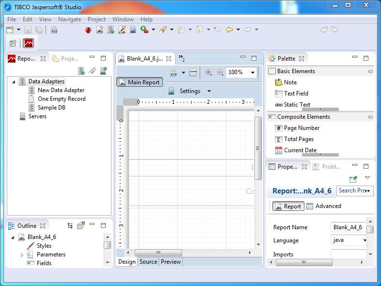 Create Data Adapter for Jasper Reports using Jaspersoft Studio