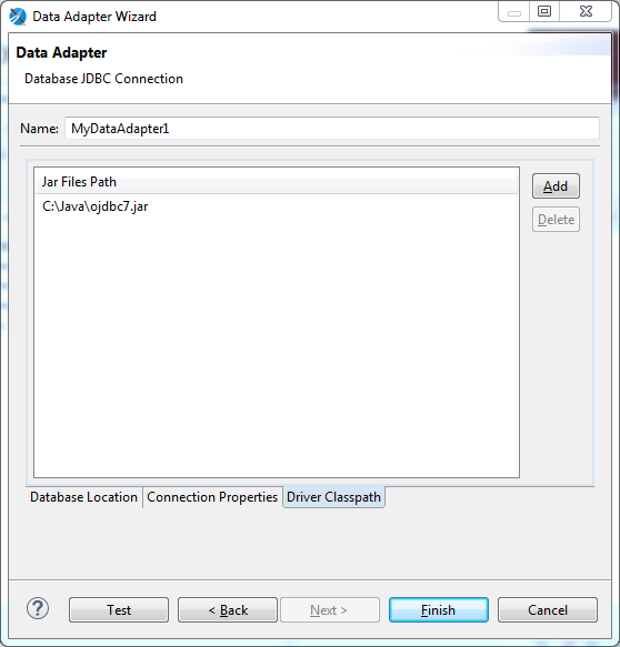 Create Data Adapter for Jasper Reports using Jaspersoft Studio: jdbc driver