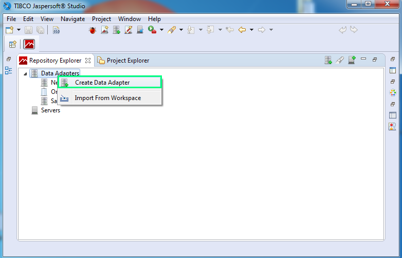 Add JDBC driver for a Data Adapter : repository explorer