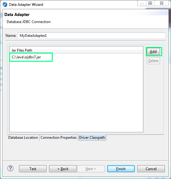 Add JDBC driver for a Data Adapter : jdbc driver