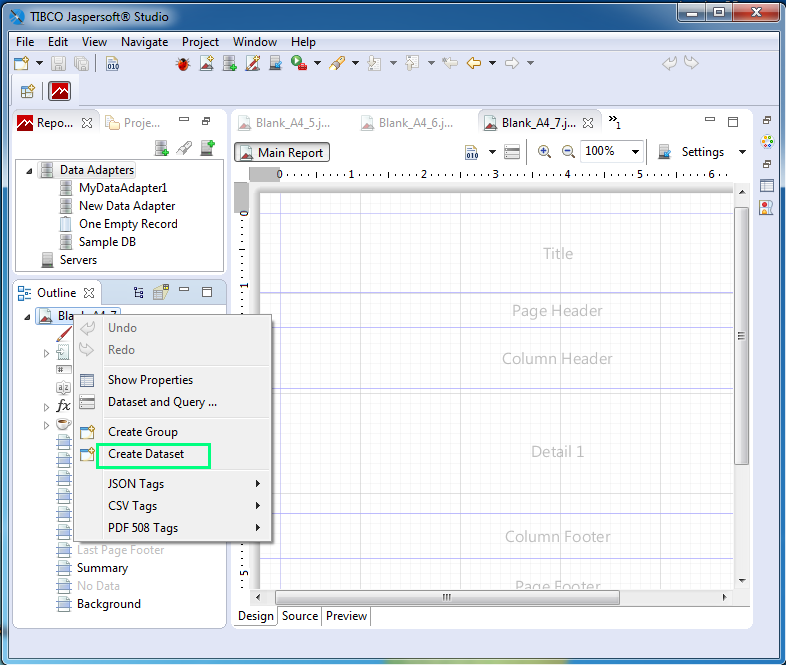 Create Dataset using Jaspersoft Studio for JasperReports : create dataset
