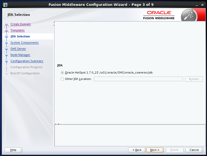 configure Oracle HTTP Server (OHS) 12.1.2 : jdk selection