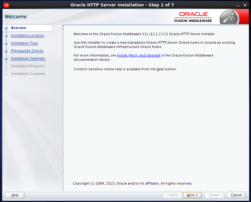 install Oracle HTTP Server (OHS) 12.1.2 : welcome page