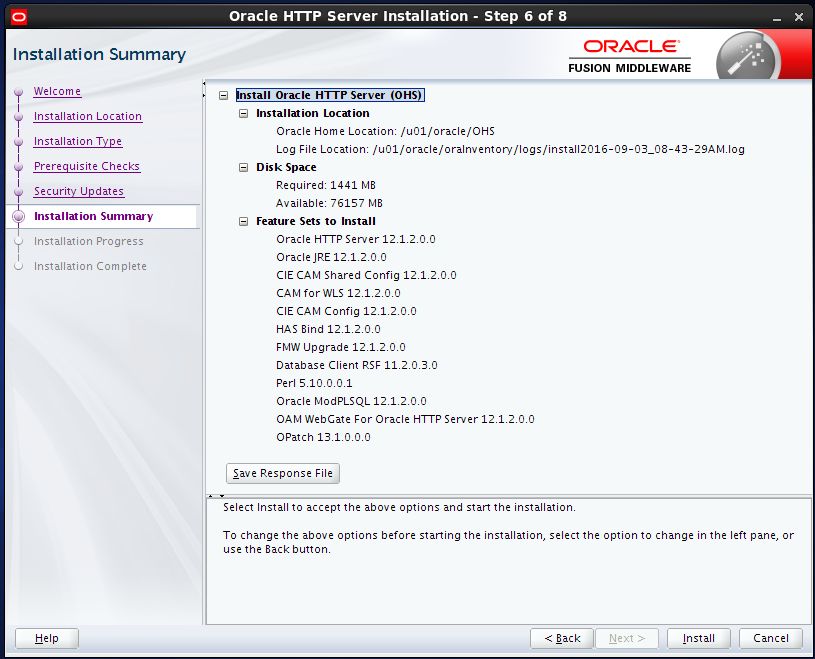 install Oracle HTTP Server (OHS) 12.1.2 : installation summary