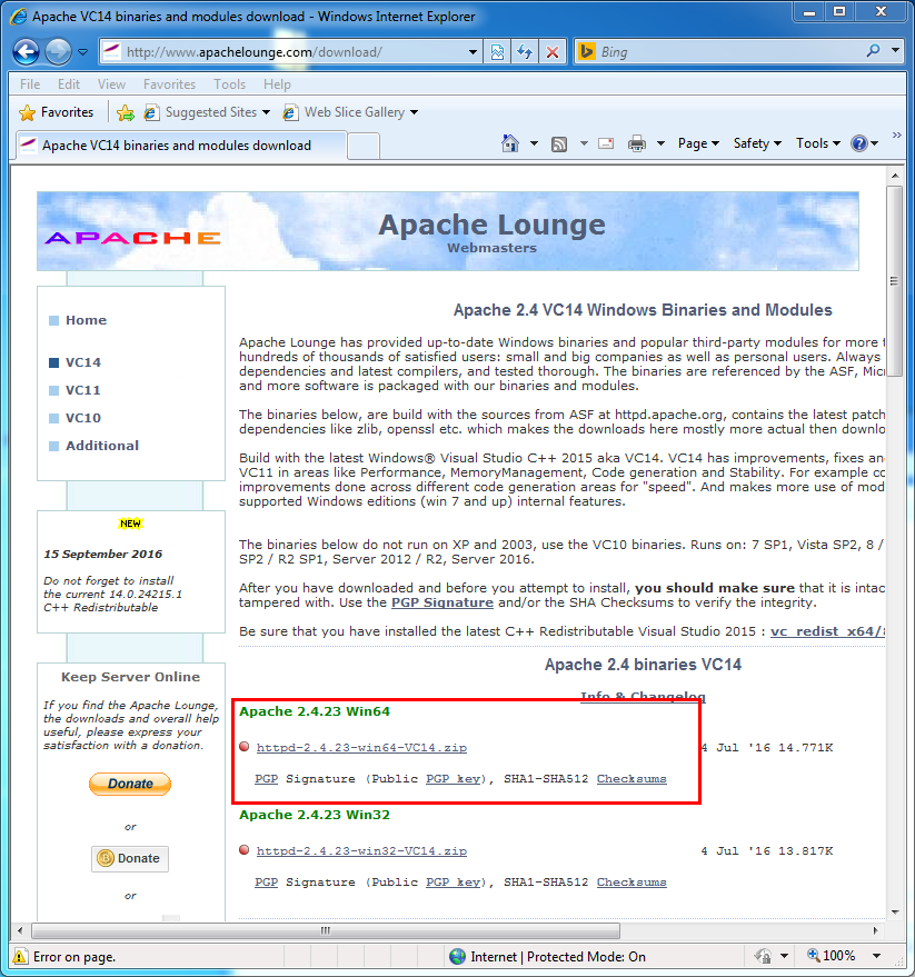 Apache hhtp server installation: Apache download page for windows: apache louge