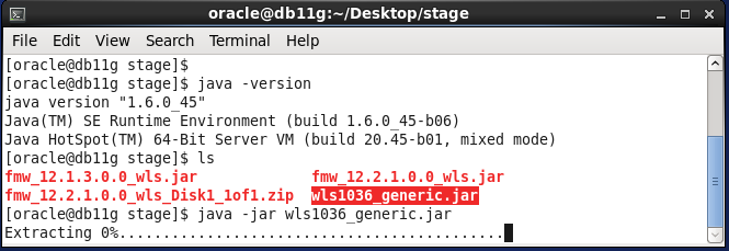 Weblogic 10.3.6 installation on linux for Oracle IDAM -  extracting