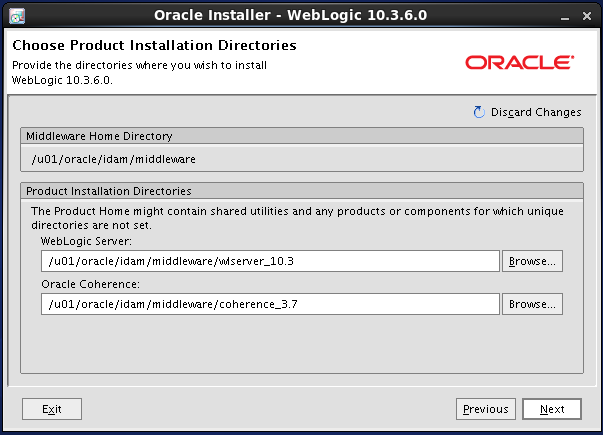 Weblogic 10.3.6 installation on linux for Oracle IDAM - weblogic home