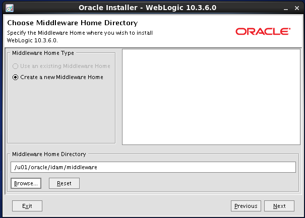 Weblogic 10.3.6 installation on linux for Oracle IDAM -  middleware home