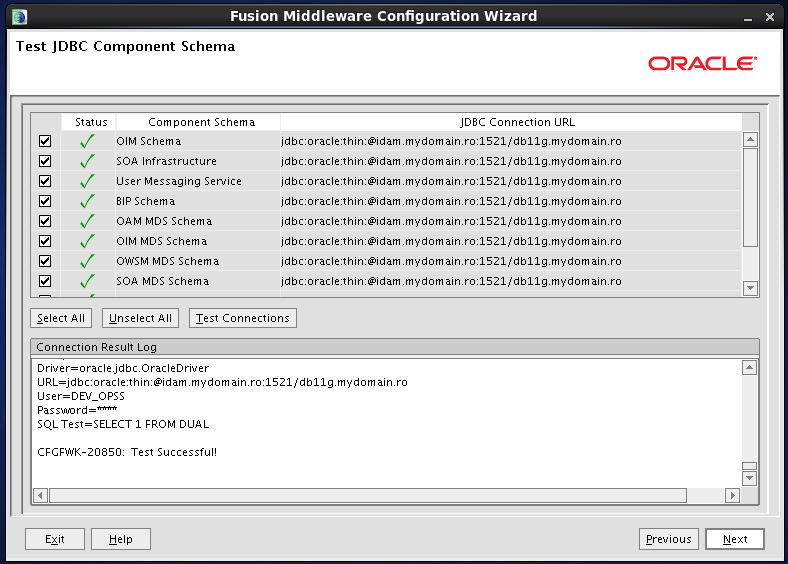 Configure Oracle Identity and Access Manager:  JDBC component schemas - test ok