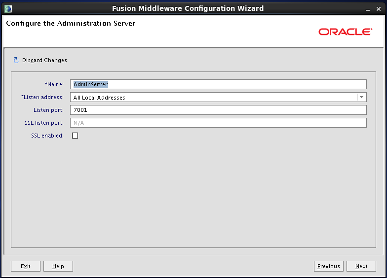 Configure Oracle Identity and Access Manager: configure admin server