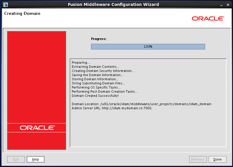 Configure Oracle Identity and Access Manager: domain created