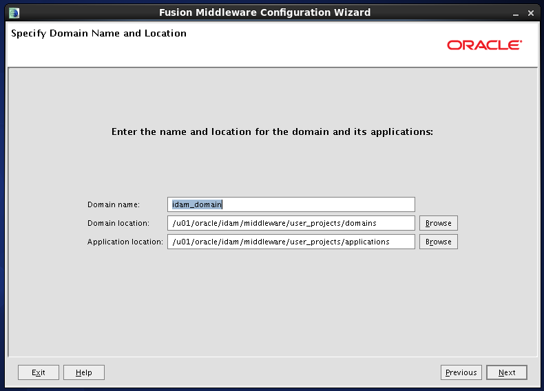 Configure Oracle Identity and Access Manager: Domain Informations