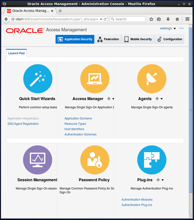 Create Oracle Access Manager (OAM) Authentication Policy: console