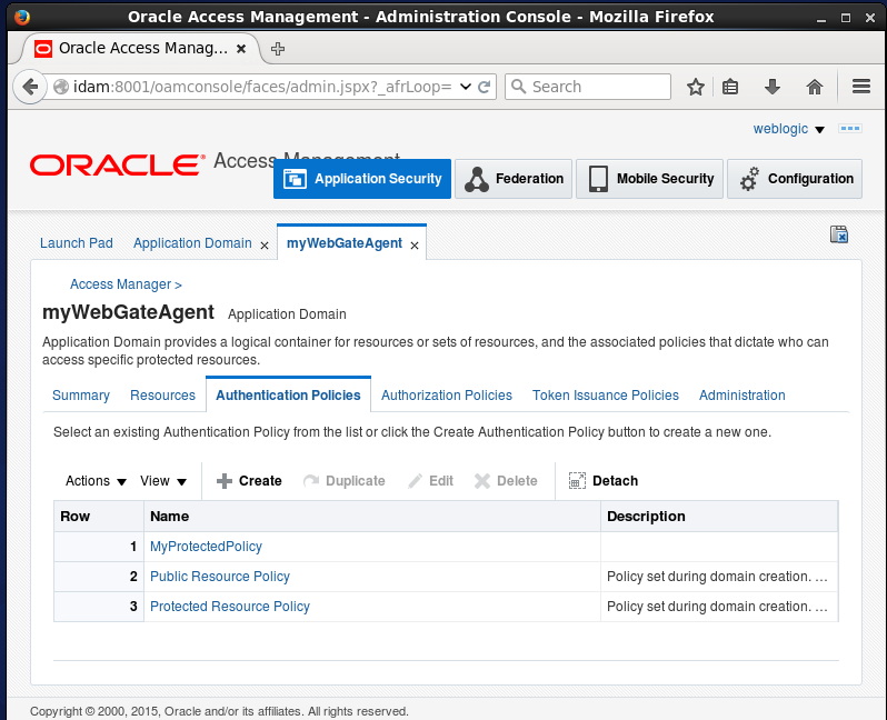 Create Oracle Access Manager (OAM) Authentication Policy: informations