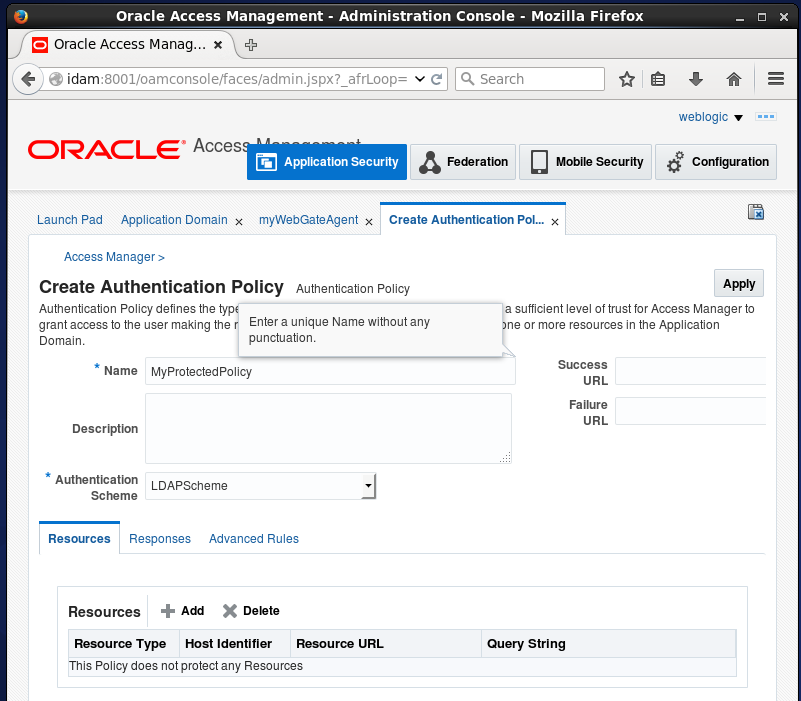 Create Oracle Access Manager (OAM) Authentication Policy: created