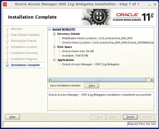 oam 11g webgate agent installation: completed