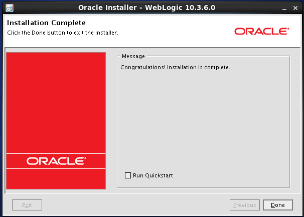 Weblogic 10.3.6 installation on linux for Oracle Internet Directory (OID) - complete