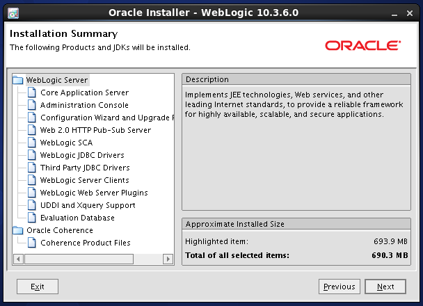 Weblogic 10.3.6 installation on linux for Oracle Internet Directory (OID) - summary