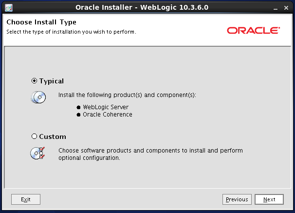 Weblogic 10.3.6 installation on linux for Oracle Internet Directory (OID) -  installation type