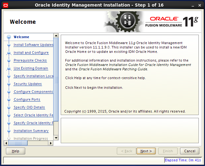 install Oracle Identity Management for OID: welcome
